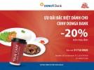 Giảm giá 15% trên hóa đơn khi ăn uống tại nhà hàng Hòa Lê dành cho chủ thẻ DongA Bank (đến hết 31/12/2020)