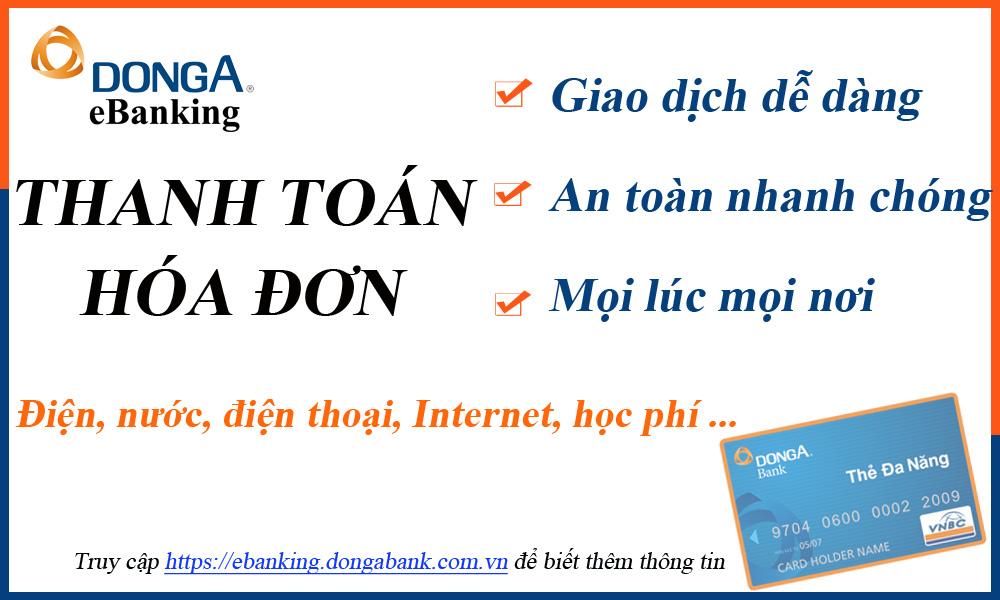 DongA eBanking mở rộng đối tác Thanh toán hóa đơn